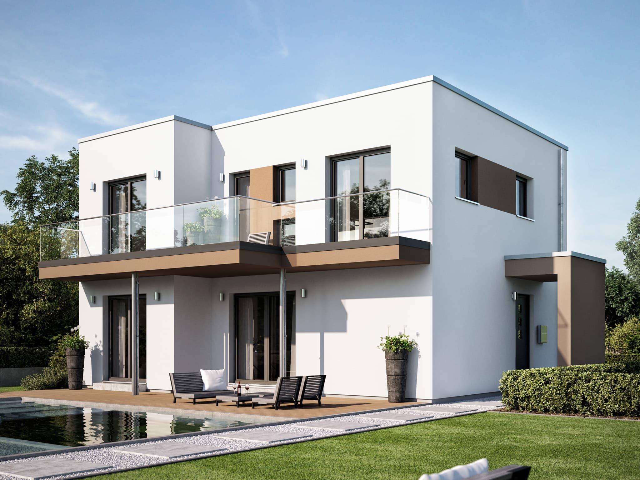 Bauhaus Stadtvilla modern mit Flachdach Architektur, Erker & Balkon - Haus bauen Ideen Fertighaus EVOLUTION 122 V12 von Bien Zenker - HausbauDirekt.de