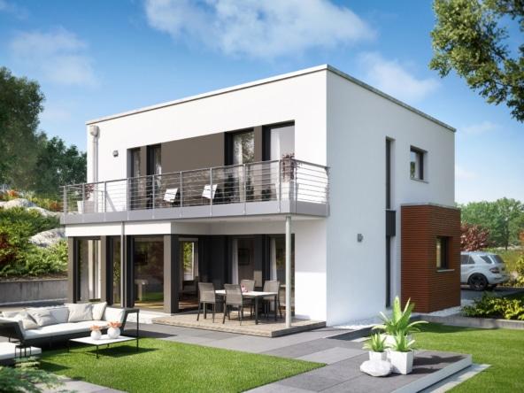 Bauhaus Stadtvilla modern mit Flachdach, Erker & Balkon, 5 Zimmer, 150 qm - Fertighaus Living Haus SUNSHINE 151 V8 - HausbauDirekt.de