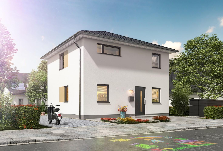 Stadtvilla Neubau modern mit Walmdach massiv bauen - STADTHAUS 100 Town & Country Haus - HausbauDirekt.de