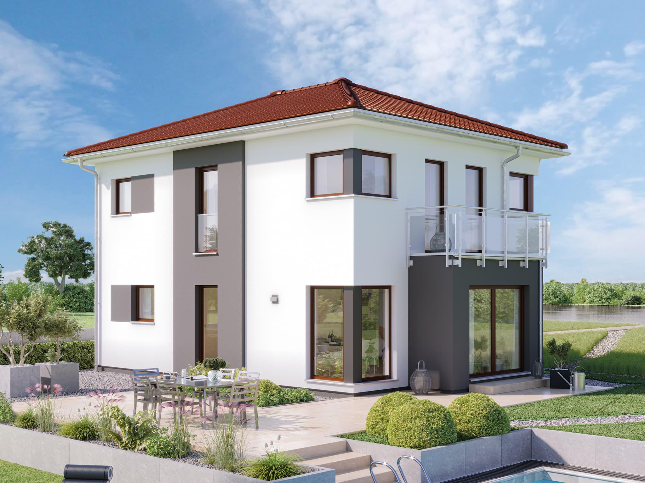 Neubau Stadtvilla modern mit Walmdach, Erker & Balkon, 5 Zimmer, 120 qm - Haus bauen Ideen Bien Zenker Fertighaus EDITION 123 V5 - HausbauDirekt.de