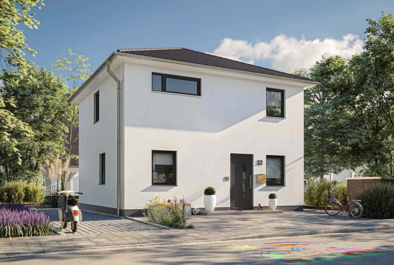 Stadtvilla modern mit weisser Putz Fassade & Walmdach massiv bauen - Massivhaus Ideen STADTHAUS 100 Town & Country Haus - HausbauDirekt.de