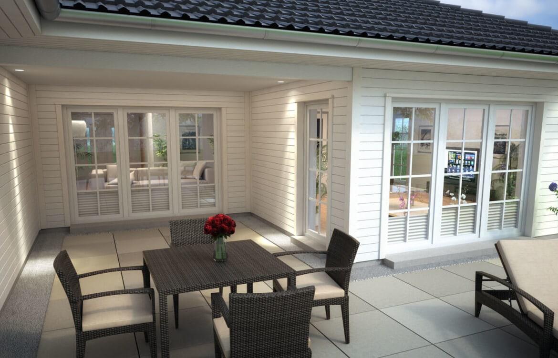 Bungalow mit Holz Fassade & Terrasse mit Loggia im Landhausstil - Haus ebenerdig bauen Ideen ScanHaus Marlow Fertighaus Bungalow SH 169 WB - HausbauDirekt.de