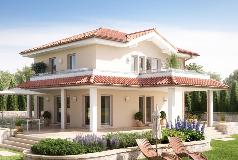 Toskana Haus mit Walmdach Architektur im mediterranen Landhausstil - Einfamilienhaus bauen Ideen Bien Zenker Fertighaus EVOLUTION 134 V7 - HausbauDirekt.de