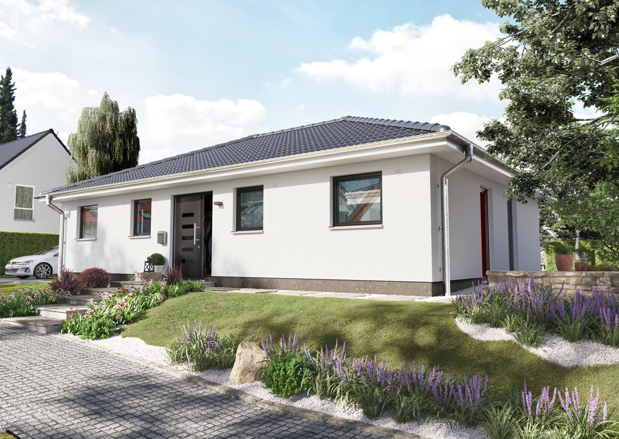 Massivhaus Bungalow Neubau mit Walmdach Architektur, 4 Zimmer, 108 qm - Haus bauen Ideen Town Country Haus Bungalow 110 Elegance - HausbauDirekt.de