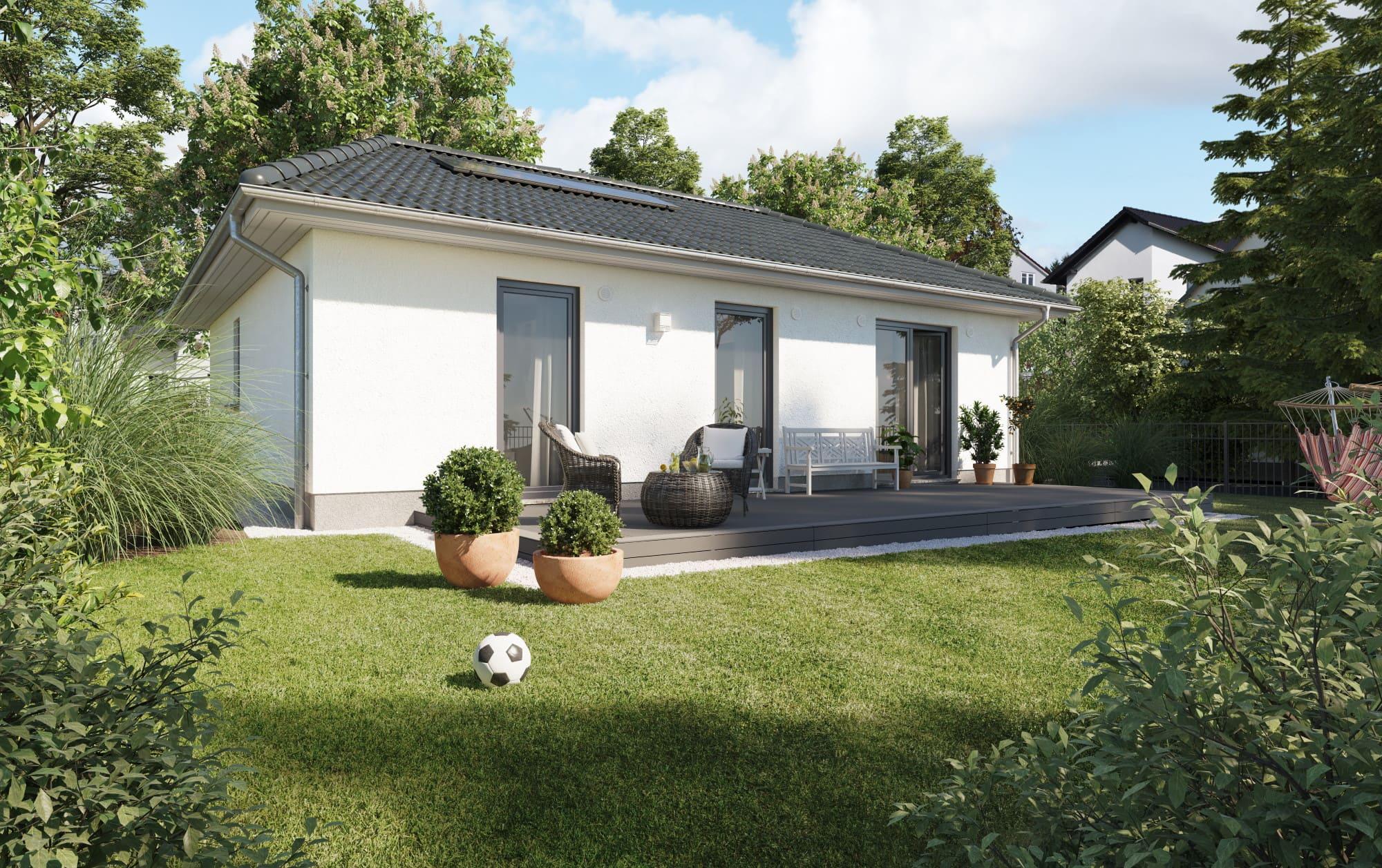 Bungalow Haus massiv mit Walmdach Architektur & Putz Fassade - Haus bauen Ideen Town Country Massivhaus Bungalow 78 Elegance - HausbauDirekt.de