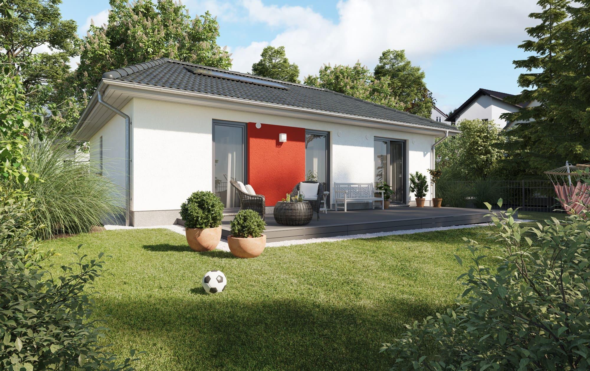 Bungalow Haus modern mit Walmdach Architektur & Putz Fassade - Haus bauen Ideen Town Country Massivhaus Bungalow 78 Style - HausbauDirekt.de