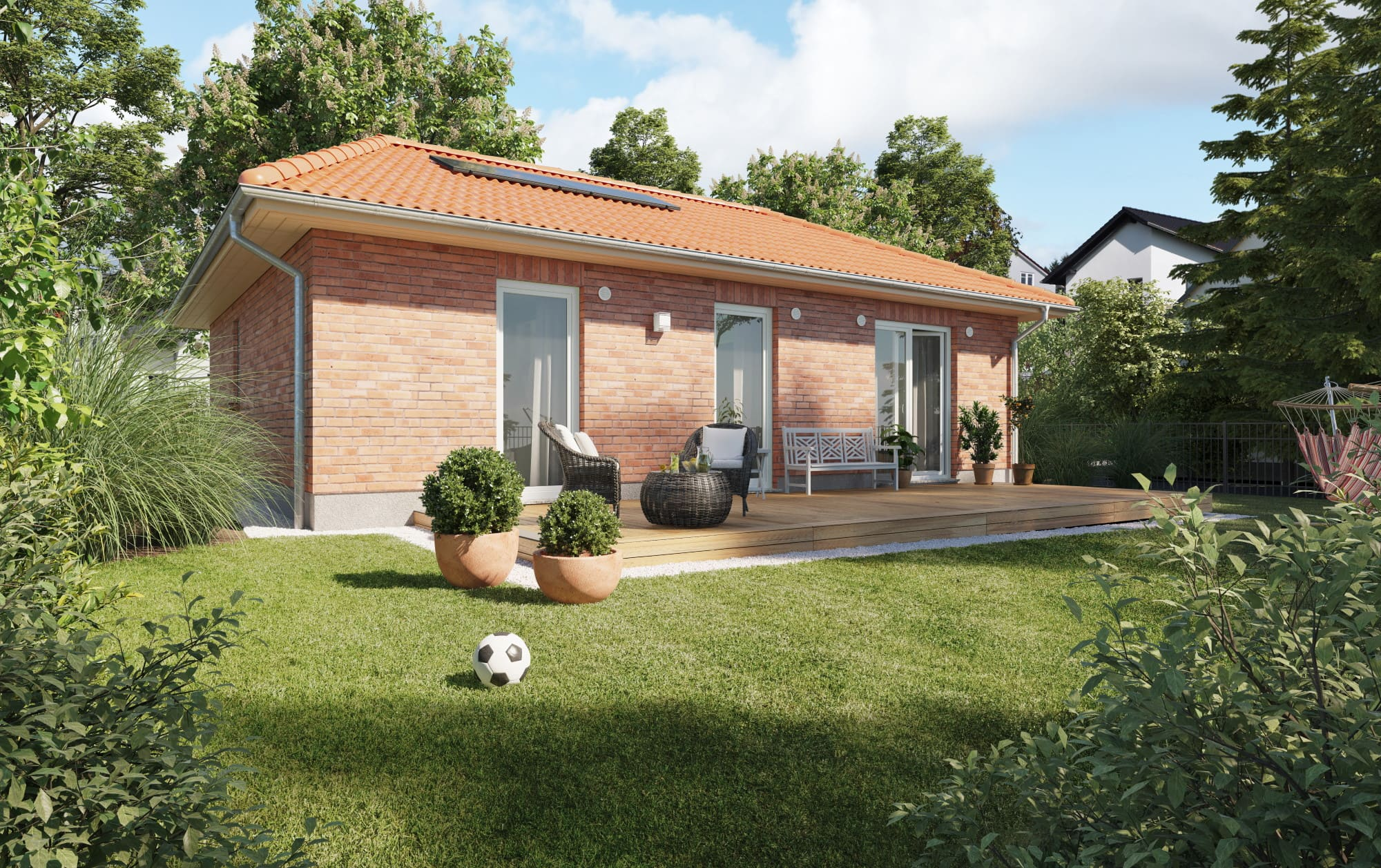 Bungalow Haus mit Klinker Fassade & Walmdach Architektur - Massivhaus bauen Ideen Town Country Haus Bungalow 78 - HausbauDirekt.de