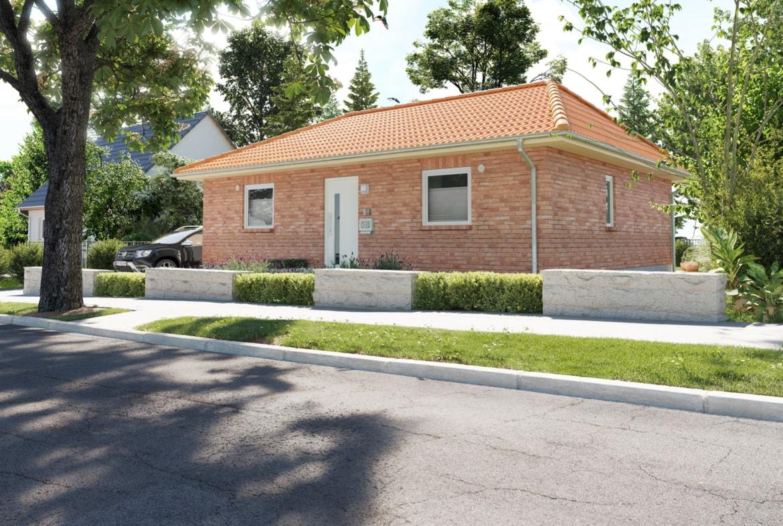 Bungalow Haus mit Walmdach Architektur & Klinker Fassade - Massivhaus bauen Ideen Town Country Haus Bungalow 78 - HausbauDirekt.de