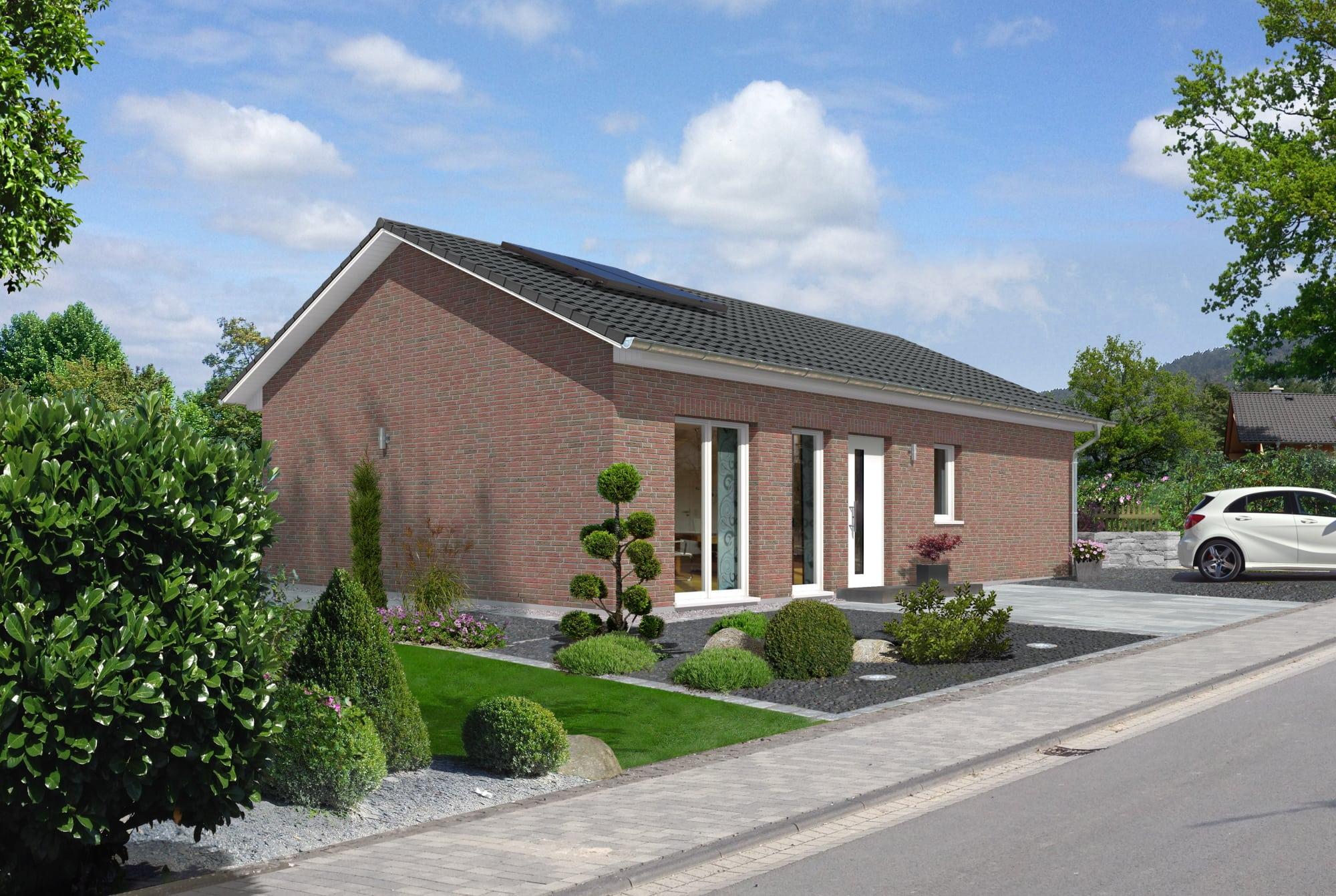 Bungalow Haus mit Klinker Fassade & Satteldach Architektur - Massivhaus schlüsselfertig bauen Ideen Town Country Haus BUNGALOW 100 - HausbauDirekt.de