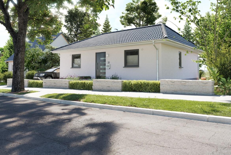 Bungalow Haus Neubau mit Walmdach Architektur & Putz Fassade - Haus bauen Ideen Town Country Massivhaus Bungalow 78 Style - HausbauDirekt.de