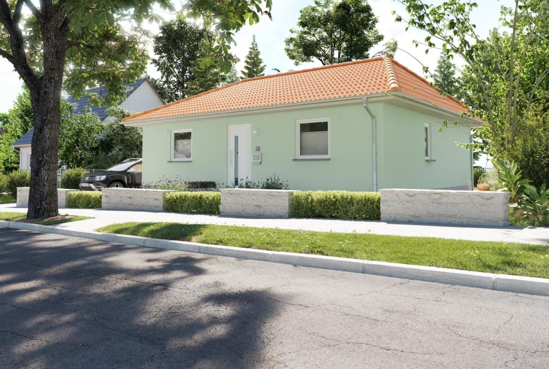 Bungalow Haus Neubau mit Walmdach Architektur & Putz Fassade - Haus bauen Ideen Town Country Massivhaus Bungalow 78 Trend - HausbauDirekt.de