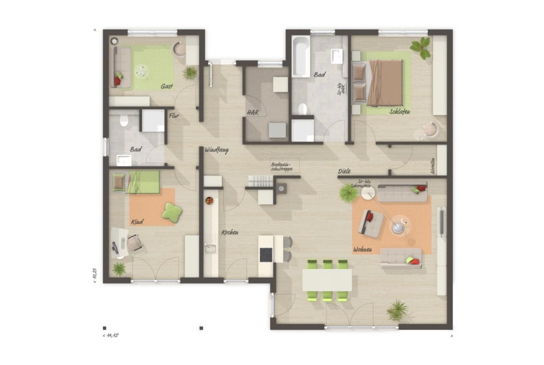 Winkelbungalow Grundriss mit Walmdach & überdachter Terrasse, 4 Zimmer, 130 qm - Massivhaus schlüsselfertig bauen Ideen Town Country Haus Bungalow 128 - HausbauDirekt.de