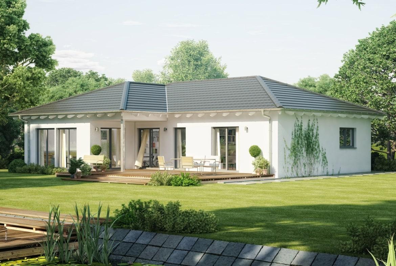 Winkelbungalow modern mit Walmdach Architektur - Haus eingeschossig bauen Ideen Fertighaus Bungalow AMBIENCE 111 V3 von Bien Zenker - HausbauDirekt.de