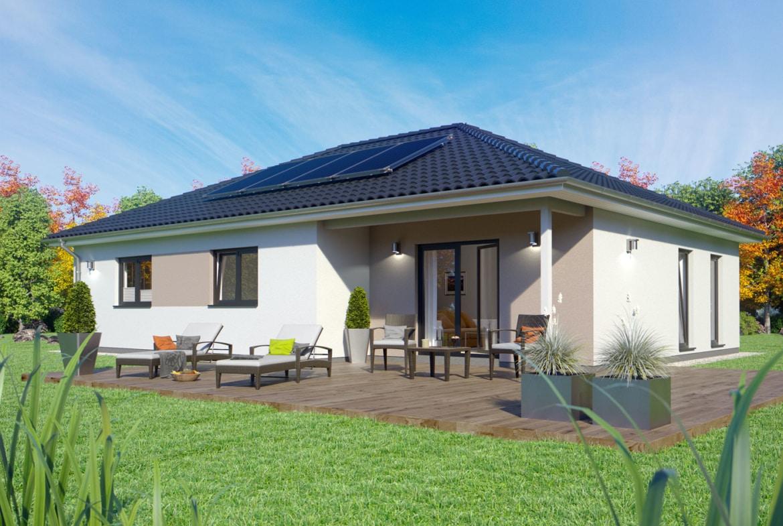 Winkelbungalow mit Walmdach Architektur, 4 Zimmer, 110 qm - ScanHaus Marlow Fertighaus Bungalow SH 117 B Variante A - HausbauDirekt.de