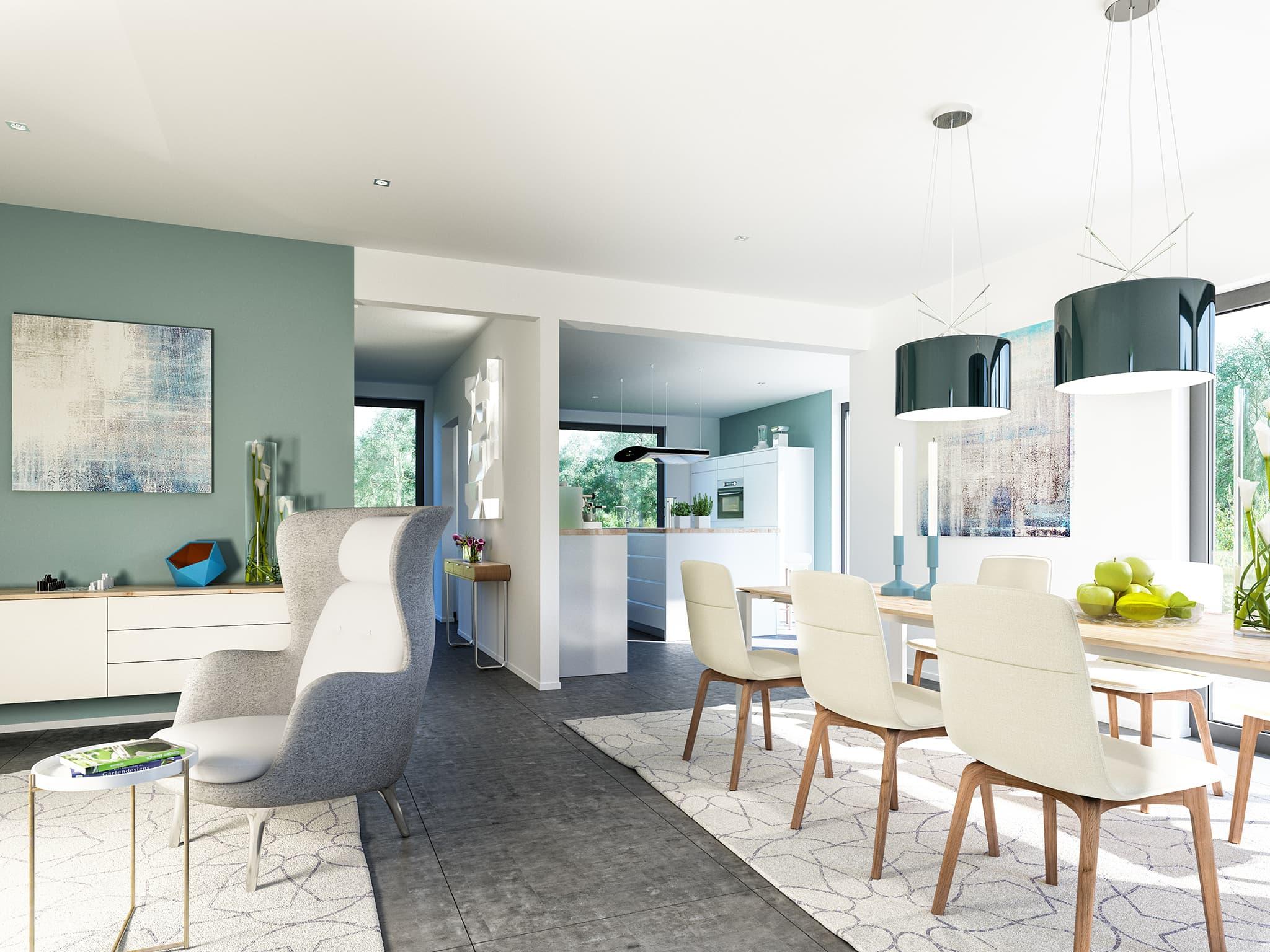 Wohn-Essbereich mit offener Küche - Ideen Stadtvilla Inneneinrichtung Bien Zenker Fertighaus FANTASTIC 163 V8 - HausbauDirekt.de