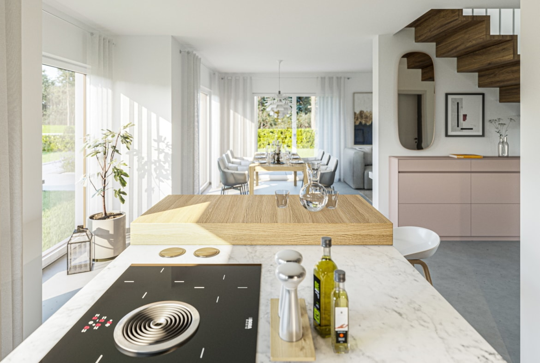 Wohn-Esszimmer offen mit Treppe - Haus Design Stadtvilla innen Ideen Bien Zenker Fertighaus EDITION 134 V5 - HausbauDirekt.de