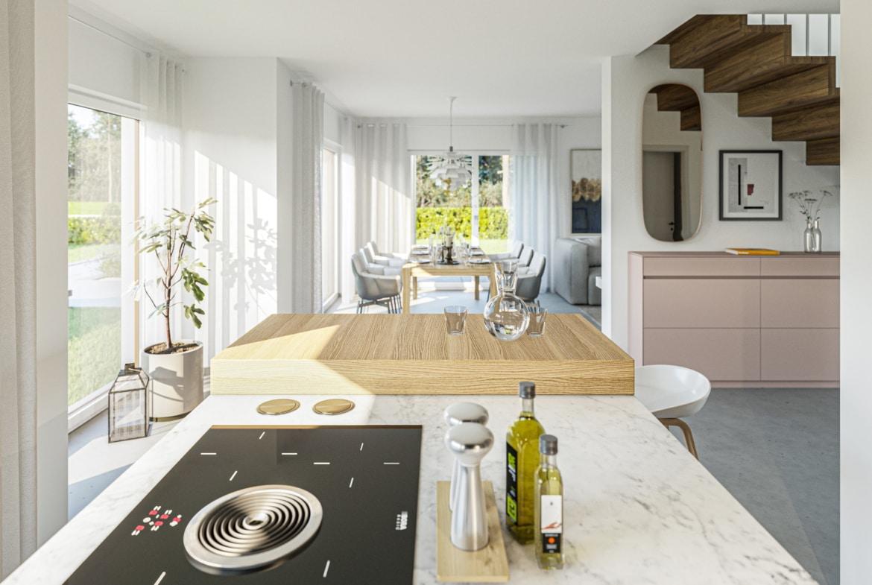 Modernes Wohn-Esszimmer mit offener Küche - Haus Design innen Ideen Bien Zenker Fertighaus EDITION 134 V3 - HausbauDirekt.de