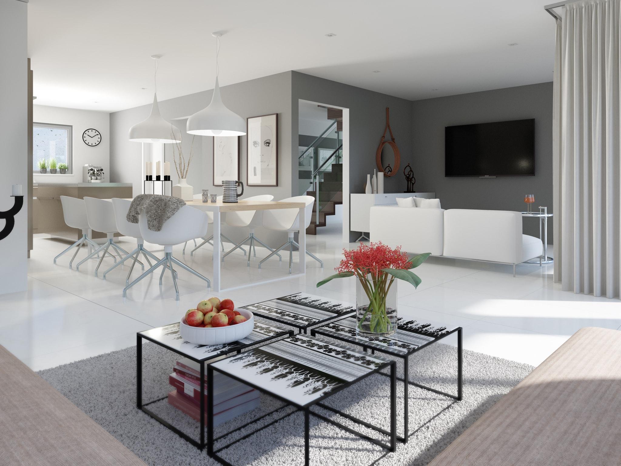 Wohn-Esszimmer Ideen Inneneinrichtung modern in weiß & grau - Wohnideen Einfamilienhaus Bien Zenker Fertighaus FANTASTIC 161 V5 - HausbauDirekt.de