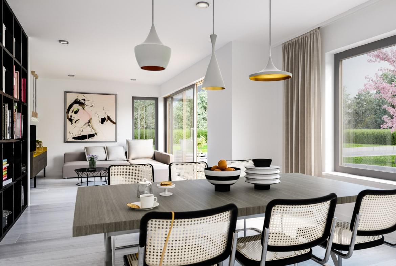 Wohn-Esszimmer Ideen - Einfamilienhaus Inneneinrichtung Bien Zenker Fertighaus FANTASTIC 165 V2 - HausbauDirekt.de