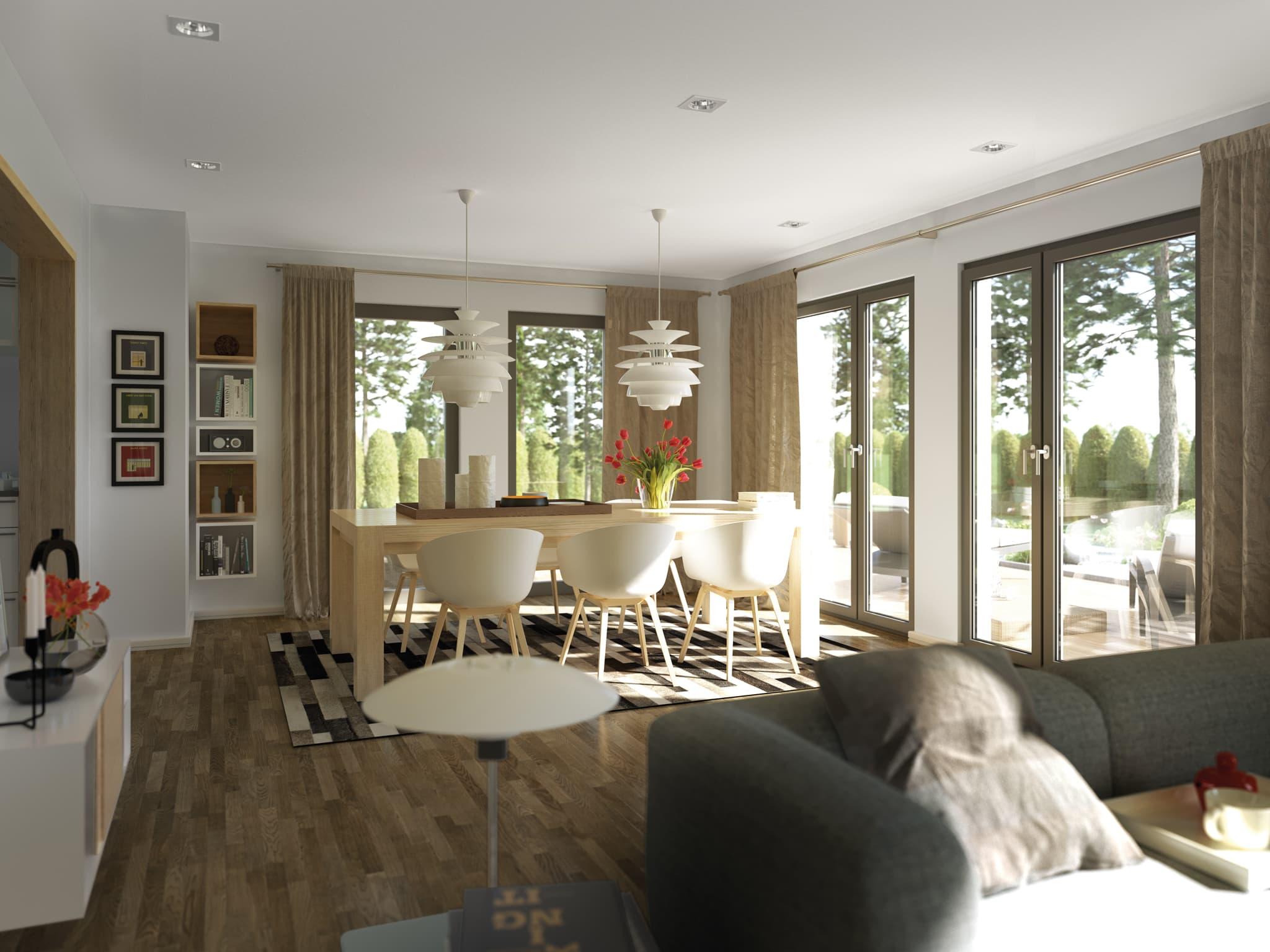Wohn- Esszimmer Ideen - Einfamilienhaus Inneneinrichtung Fertighaus Living Haus SUNSHINE 125 V7 - HausbauDirekt.de