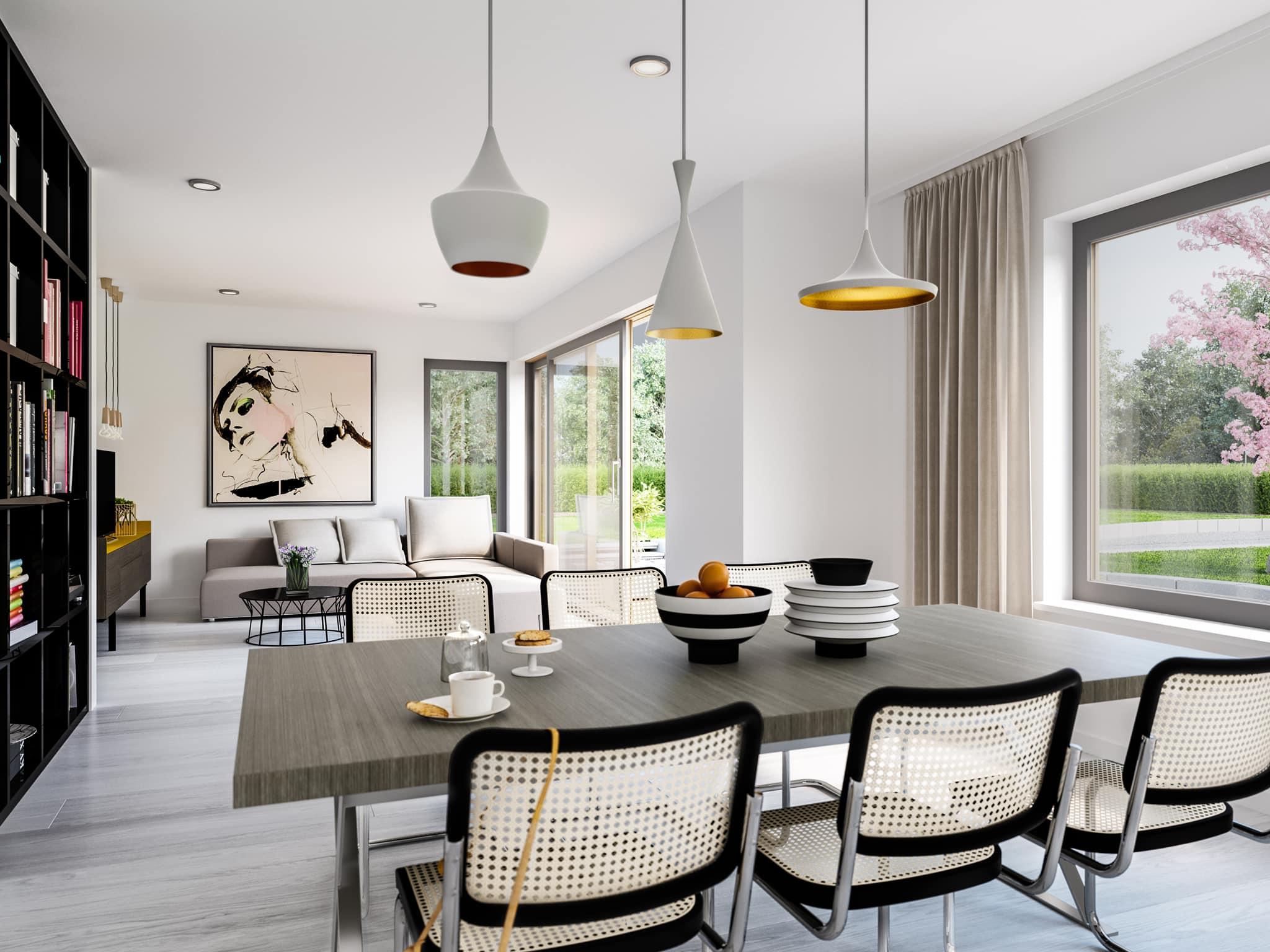 Offenes Wohn-Esszimmer modern - Ideen Einrichtung Bien Zenker Fertighaus Stadtvilla FANTASTIC 165 V7 - HausbauDirekt.de