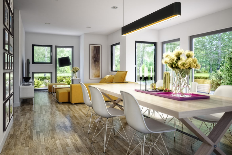 Wohn-Esszimmer Ideen - Einfamilienhaus Inneneinrichtung Fertighaus Living Haus SUNSHINE 126 V2 - HausbauDirekt.de