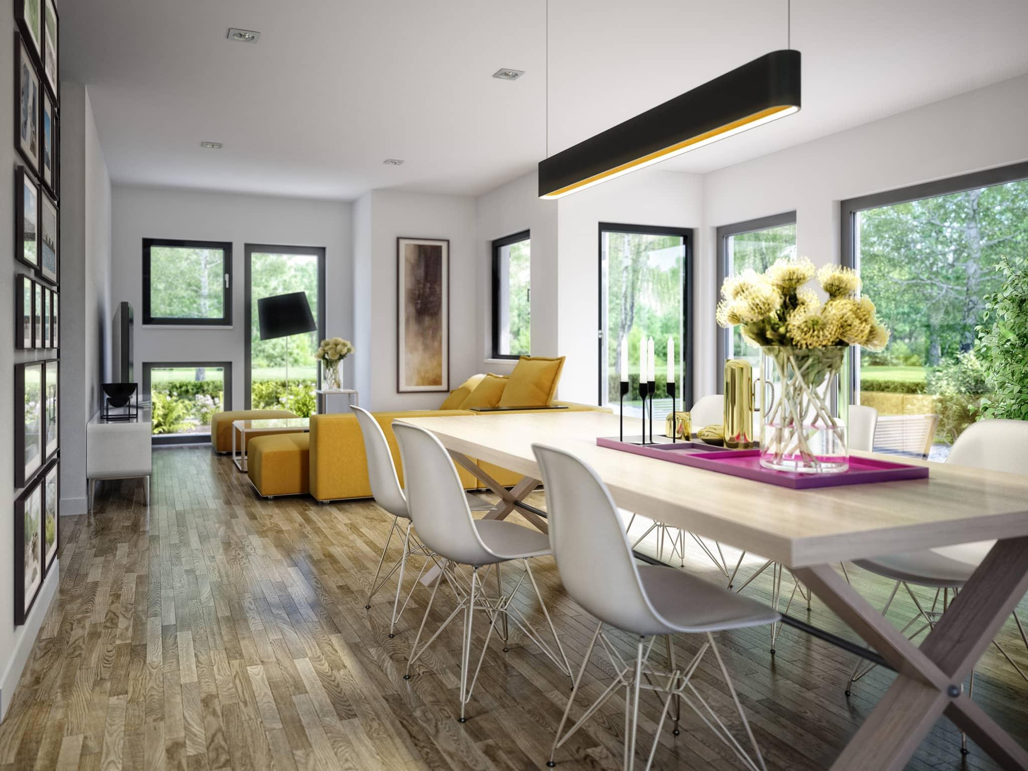 Wohn-Esszimmer Ideen - Einfamilienhaus Inneneinrichtung Fertighaus Living Haus SUNSHINE 126 V5 - HausbauDirekt.de