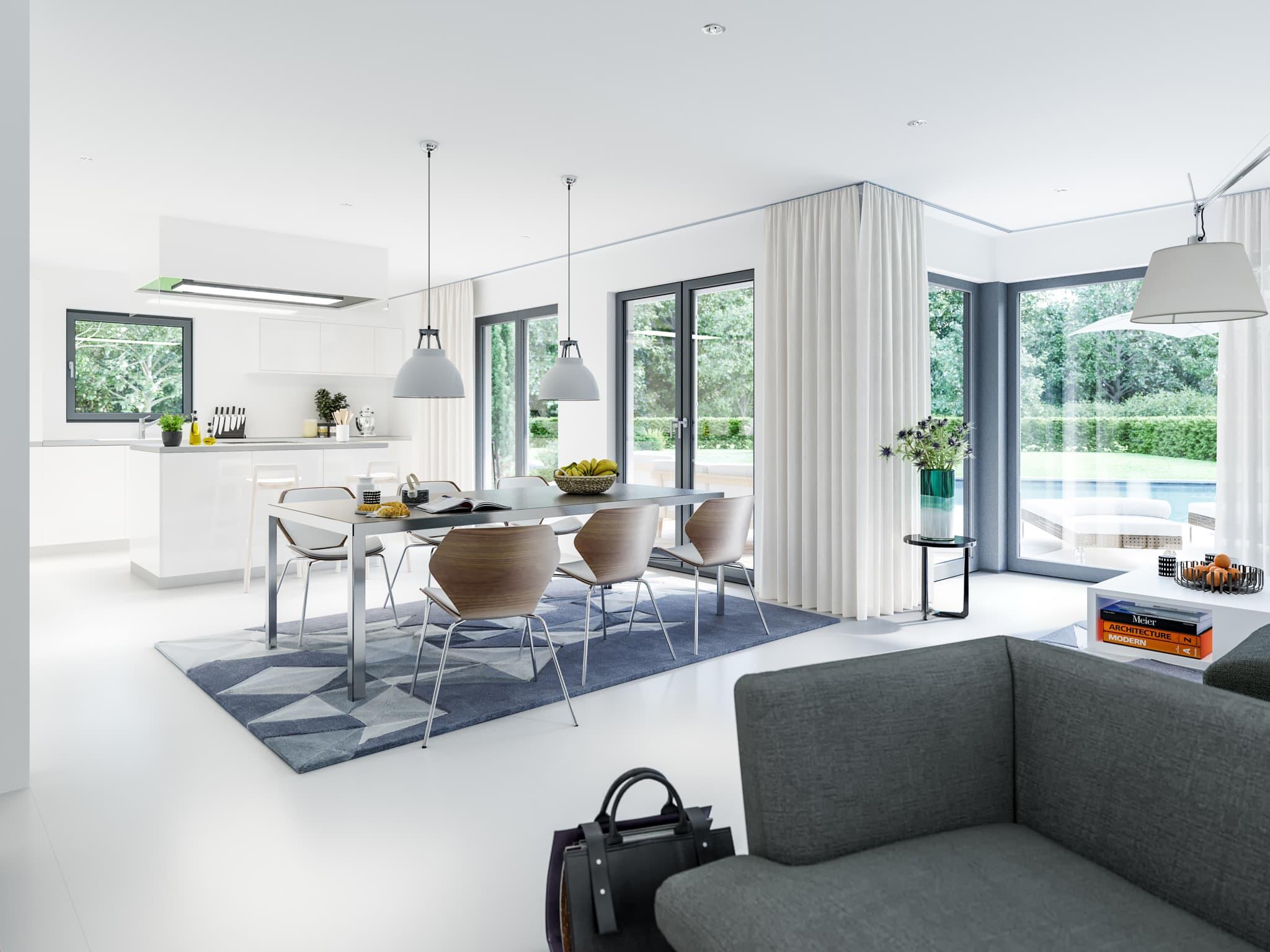 Wohn-Esszimmer mit Küche offen - Ideen Stadtvilla Inneneinrichtung modern Fertighaus Living Haus SUNSHINE 143 V6 - HausbauDirekt.de