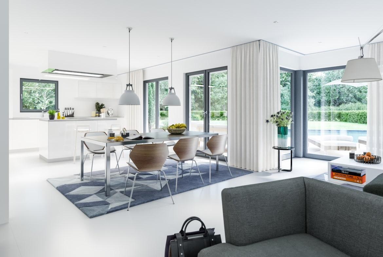 Offenes Wohn-Esszimmer mit Küche - Ideen Inneneinrichtung Fertighaus Living Haus SUNSHINE 143 V7 - HausbauDirekt.de