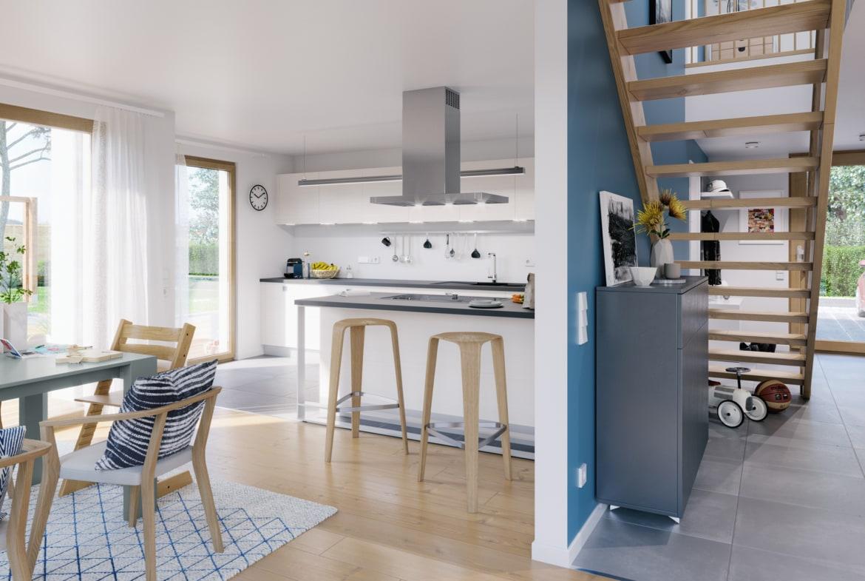 Offene Wohnküche & Flur mit Treppe gerade - Ideen Inneneinrichtung Fertighaus Living Haus SUNSHINE 154 V2 - HausbauDirekt.de