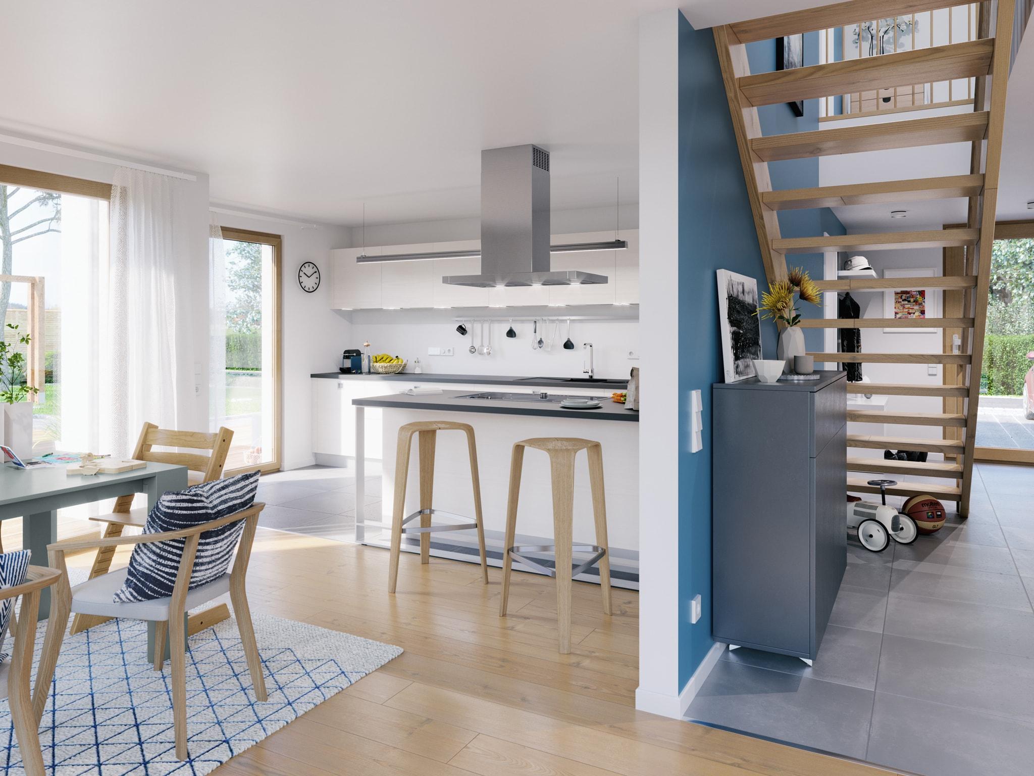Offene Wohnlandschaft mit gerader Holz Treppe im Flur - Ideen Inneneinrichtung Fertighaus Living Haus SUNSHINE 154 V3 - HausbauDirekt.de