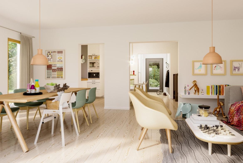 Offenes Wohn-Esszimmer mit großem Holztisch - Ideen Inneneinrichtung Fertighaus SOLUTION 242 V2 von Living Haus - HausbauDirekt.de