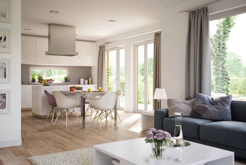 Wohn-Esszimmer Ideen offen mit Küche - Wohnideen Inneneinrichtung Fertighaus SUNSHINE 113 V4 von Living Haus - HausbauDirekt.de