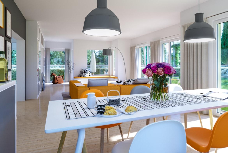 Wohn-Esszimmer Ideen - Inneneinrichtung Fertighaus SUNSHINE 165 V3 von Living Haus - HausbauDirekt.de