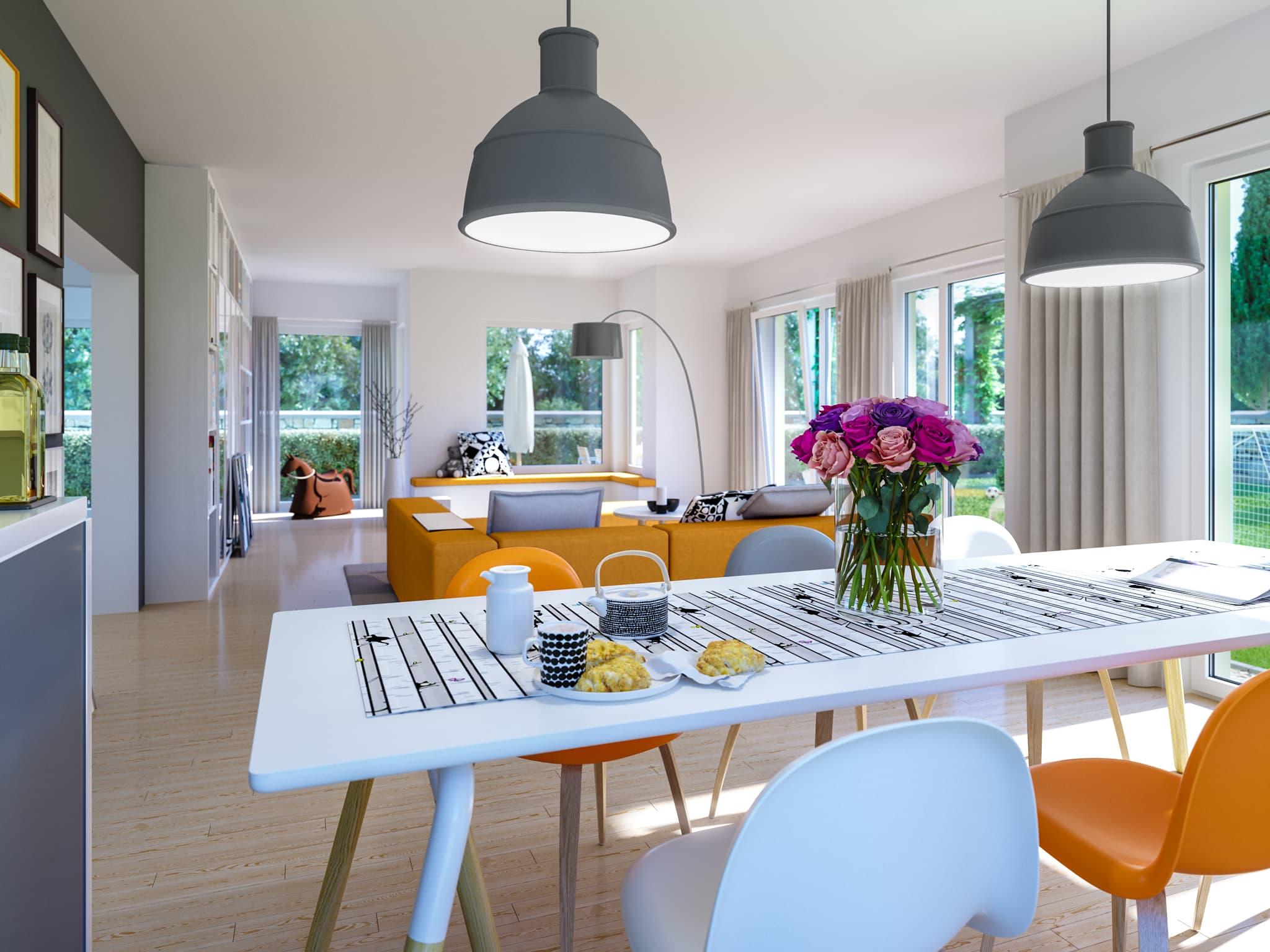 Wohn-Esszimmer modern - Wohnideen Fertighaus SUNSHINE 165 V5 von Living Haus - HausbauDirekt.de