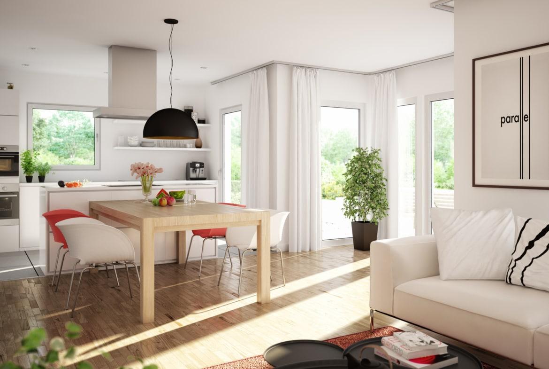 Wohn- Esszimmer Ideen modern offener Küche - Wohnideen Fertighaus innen SUNSHINE 125 V4 von Living Haus - HausbauDirekt.de