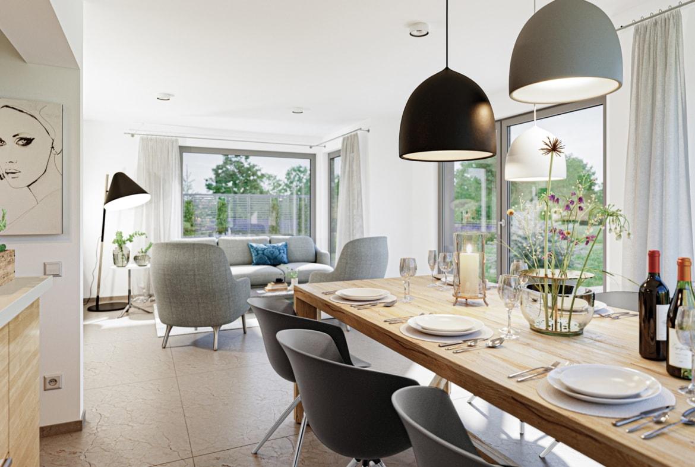 Offenes Wohn-Esszimmer modern mit großem Esstisch aus Holz - Ideen Inneneinrichtung Haus Design Bien Zenker Fertighaus EDITION 123 V3 - HausbauDirekt.de