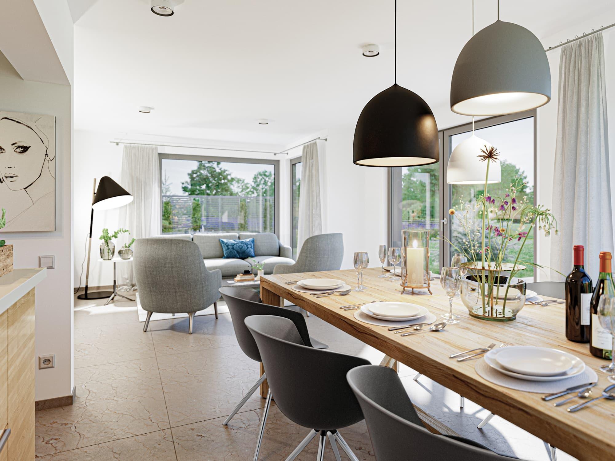 Offenes Wohn- und Esszimmer modern mit großem Esstisch - Haus Design Ideen Inneneinrichtung Stadtvilla Bien Zenker Fertighaus EDITION 123 V5 - HausbauDirekt.de