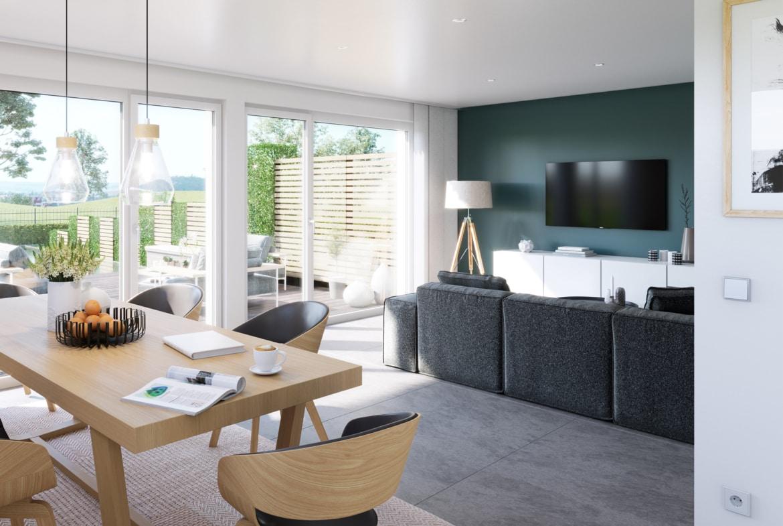Wohn-Esszimmer modern einrichten - Ideen Inneneinrichtung Doppelhaus Fertighaus Bien-Zenker CELEBRATION 139 V6 - HausbauDirekt.de