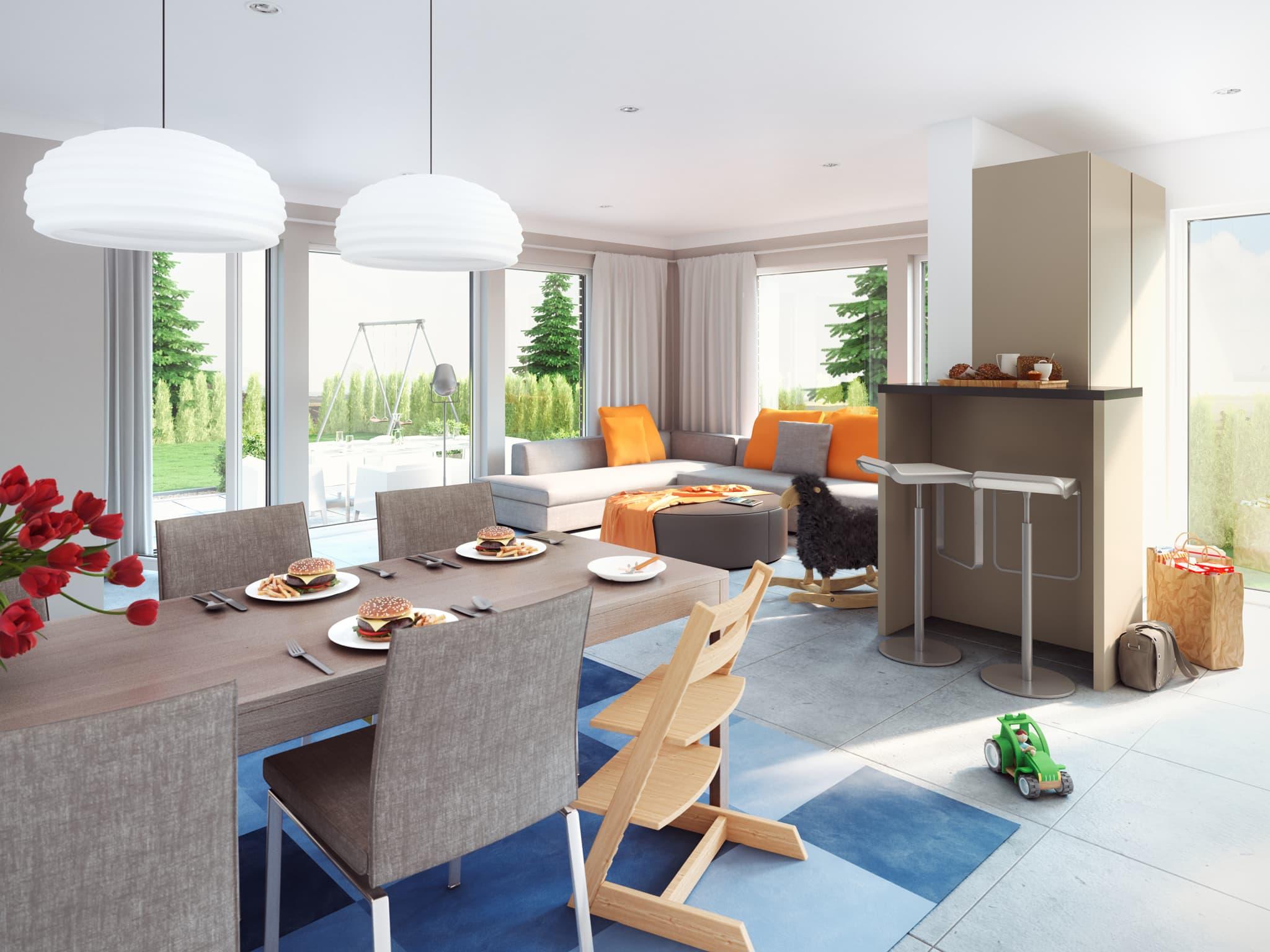 Offenes Wohn-Esszimmer - Ideen Inneneinrichtung Living Haus SOLUTION 183 V2 - HausbauDirekt.de