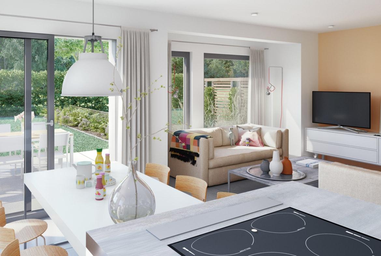 Offenes Wohn-Esszimmer modern - Ideen Inneneinrichtung Fertighaus SOLUTION 230 V4 von Living Haus - HausbauDirekt.de