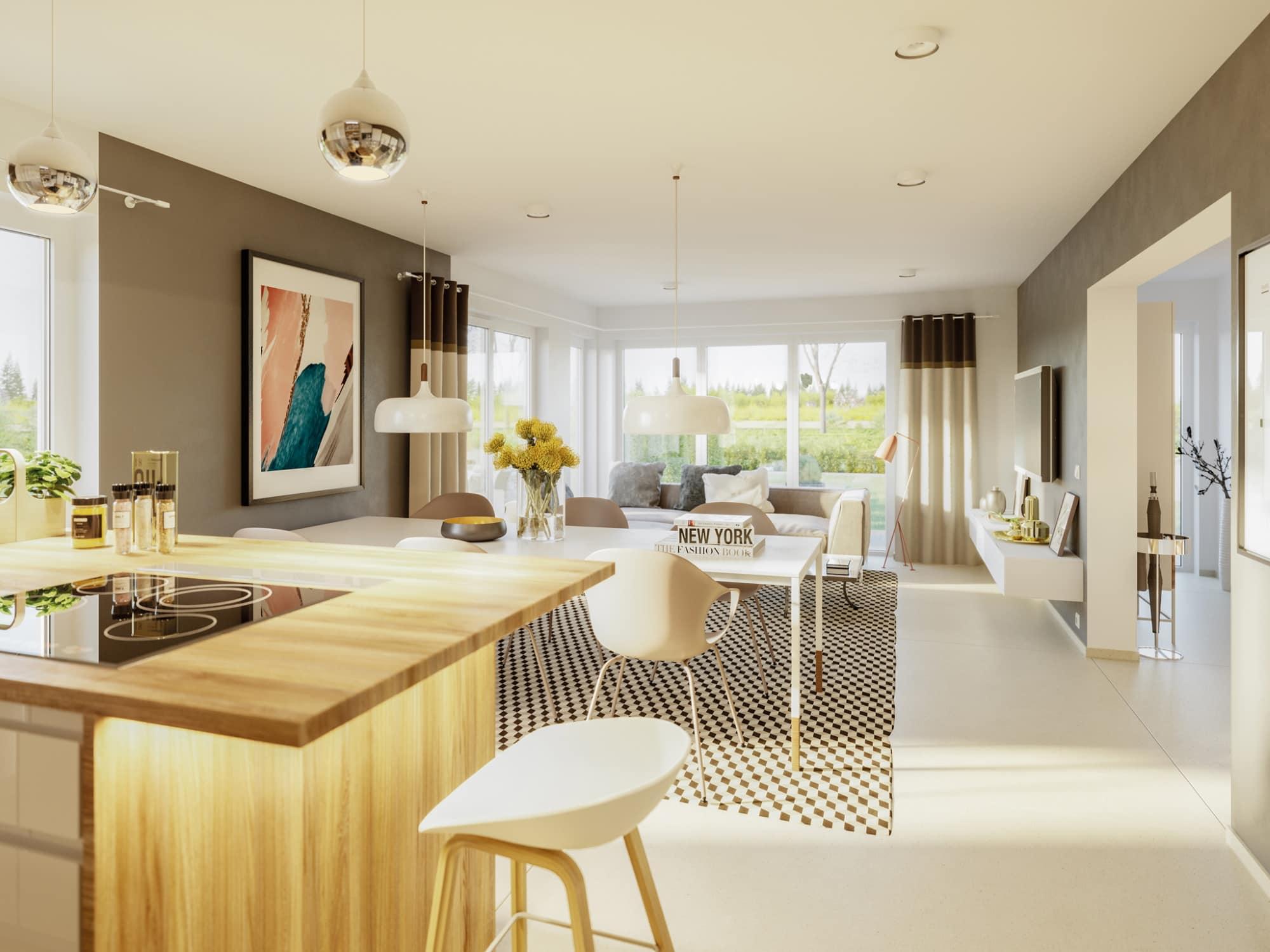 Offenes Wohn-Esszimmer - Ideen Inneneinrichtung Haus Design Bien Zenker Fertighaus EDITION 125 V2 - HausbauDirekt.de