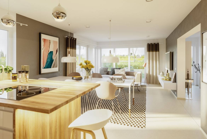 Offene Küche mit Wohnzimmer & Essbereich - Ideen Inneneinrichtung Haus Design Bien Zenker Fertighaus EDITION 125 V4 - HausbauDirekt.de
