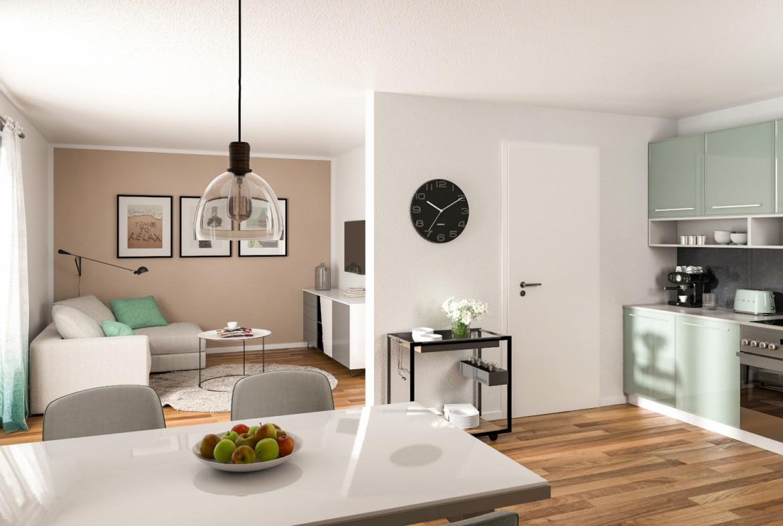 Offenes Wohn-Esszimmer modern mit Küche - Stadtvilla Inneneinrichtung Ideen STADTHAUS 100 Town & Country Haus - HausbauDirekt.de