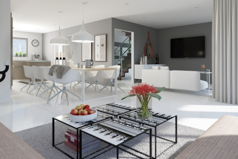 Wohn-Esszimmer modern Wandfarbe grau - Ideen Inneneinrichtung Haus Bien Zenker Fertighaus FANTASTIC 161 V6 - HausbauDirekt.de