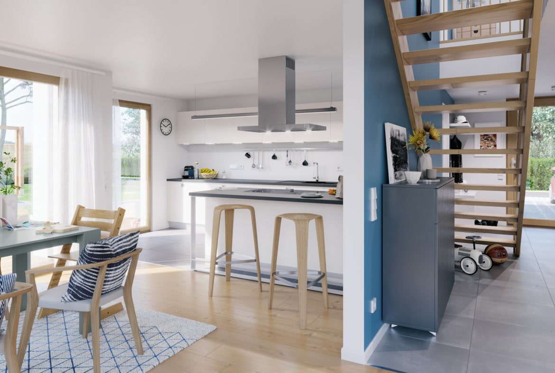 Wohn-Esszimmer mit offener Küche - Wohnideen Living Haus Fertighaus SUNSHINE 154 V7 - HausbauDirekt.de