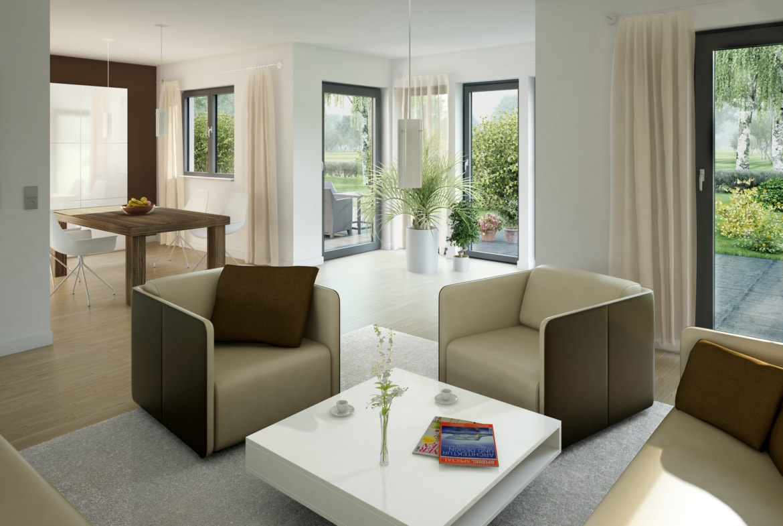 Modernes Wohn- Esszimmer mit Wintergarten Erker - Inneneinrichtung Haus Ideen Bien Zenker Fertighaus EVOLUTION 143 V3 - HausbauDirekt.de