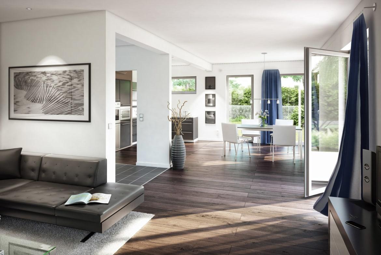 Offenes Wohn-Esszimmer mit Küche - Wohnideen Inneneinrichtung Einfamilienhaus bauen Ideen Bien Zenker Fertighaus EVOLUTION 165 V7 - Hausbaudirekt.de