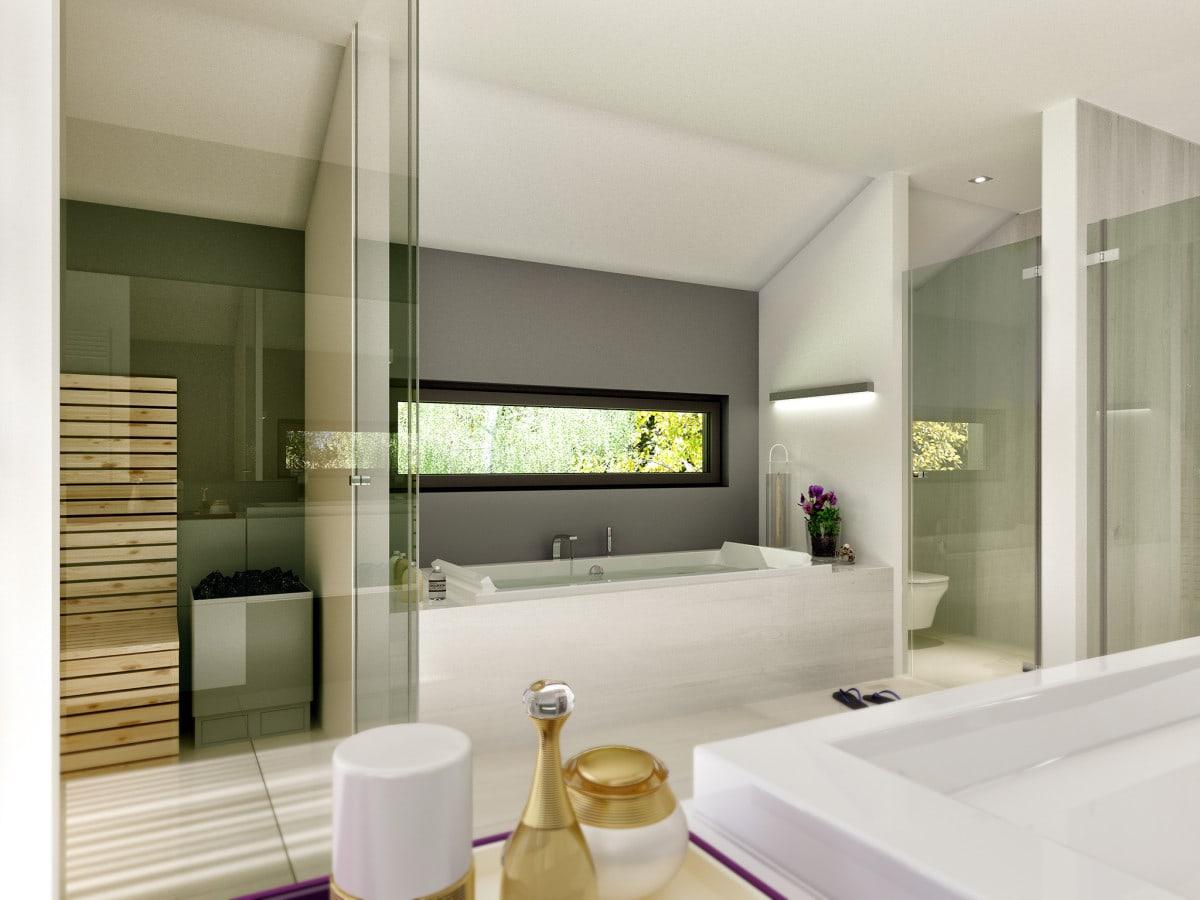 Modernes Badezimmer mit Badewanne unter Dachschräge - Ideen Haus Design innen Fertighaus Bien Zenker CONCEPT-M 211 Mannheim - HausbauDirekt.de