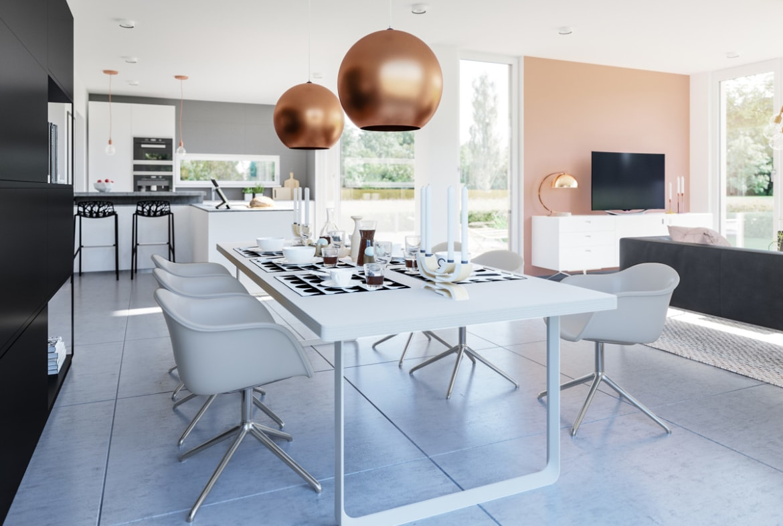 Offenes Wohn-Esszimmer - Haus Design Inneneinrichtung Bien Zenker Fertighaus CONCEPT-M 154 Hannover - HausbauDirekt.de